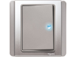 Schneider Neo 1 gang Switch with Blue LED, Grey Silver