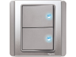 Schneider Neo 2 gang Switch with Blue LED, Grey Silver