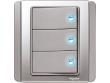 Schneider Neo 3 gang Switch with Blue LED, Grey Silver