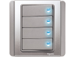 Schneider Neo 4 gang Switch with Blue LED, Grey Silver